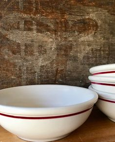 White Chili Bowl with Red Line Vintage by putnamandspeedwell