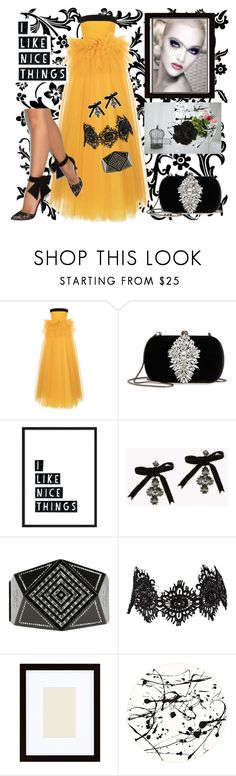 """""""Yellow Gown"""" by sherrysrosecottage-1 ❤ liked on Polyvore featuring Rasario, Badgley Mischka, Dsquared2, Chanel, Amrita Singh, Pottery Barn and Lisa Perry"""