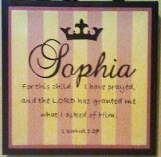 Baby Sophia name plaque art