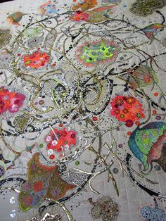 I say DIY things, but I don't think I could do this. It is a quilt! Done by Mary Bryning. Free Motion Embroidery, Free Machine Embroidery, Beaded Embroidery, Embroidery Patterns, Textile Texture, Textile Fiber Art, Textile Artists, Textiles, Contemporary Embroidery