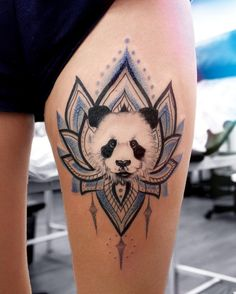Panda/mandala flower tat