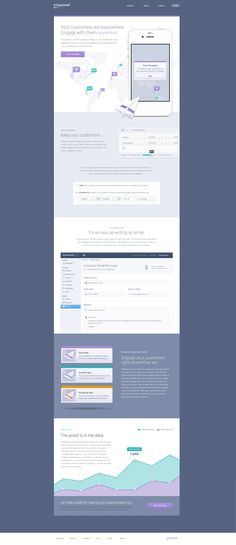 Landing Page UI, Mixpanel Engage launches