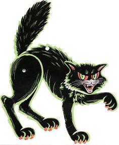 Vintage Beistle Halloween decoration - Scratching Black Cat