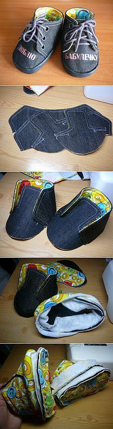 How to sew booties master class - photo Baby Shoes Pattern, Shoe Pattern, Baby Patterns, Sewing For Kids, Baby Sewing, Fabric Shoes, Crochet Shoes, Baby Boots, Doll Shoes