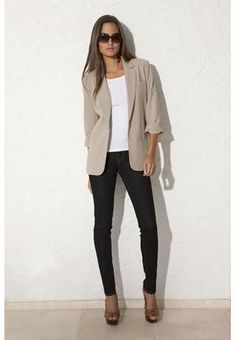 such an easy and classy look, single button blazer