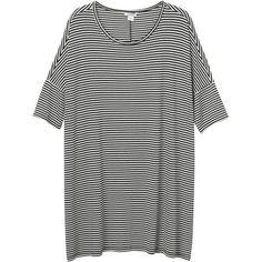 Monki Jonna dress short (€25) ❤ liked on Polyvore featuring dresses, tops, clothes - dresses, sleek stripes, striped tee shirt dress, t-shirt dresses, short t shirt dress, short striped dress and oversized dress