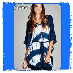 New Oversized Boho Tye-Dye Poncho Loose Tunic Top Oversized tunic dress with fitted waistline.  Embroidery detail on the front with V neck.  Fringe trim on the sleeves. 100% RAYON Made in Imported Size: Small-Medium-Large PRICE FIRM UNLESS BUNDLED Glam Squad 2 You Tops