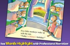 Five Little Monkeys Collection App: includes 6 books in one app. Features like word-picture association will help kids learn reading.
