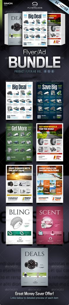 Buy Product Flyer/Ad Bundle Vol. by simon-cpx on GraphicRiver. Product Flyer/Ad Bundle Vol. 9 professional business flyer/ad templates – in both and Letter format. Indesign Templates, Print Templates, Business Names, Business Flyer, Brochure Design, Flyer Design, Advertising Sales, Promotional Flyers, Flyer Printing