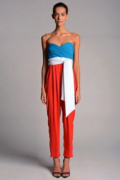 Catherine Malandrino | Spring 2014 RTW.  Forget stars and stripes, this three-toned strapless pant suit is an all-American look.  Ou très français !