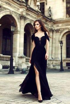 Charming Chiffon Black Side Slit Prom Dresses,Elegant Long Black Formal Dress OK846