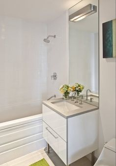 Modern Full Bathroom with IKEA GODMORGON Leg, limestone tile floors, tiled wall showerbath, Limestone counters, Flush Small Sink, Small Bathroom Vanities, Bathroom Vanity Cabinets, Modern Bathroom Design, Small Bathrooms, Small Baths, Downstairs Bathroom, Bathroom Wall, Bathroom Ideas