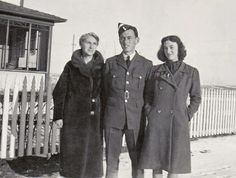 RCAF pilot Alan Light poses with his mother Vera Light and his younger sister June Light in 1942, outside their home in Battleford, Saskatchewan. Alan was killed not long afterwards in a training accident.