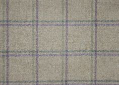 Woodford Check Fabric by Sanderson. Wool check fabric in beige with purple and green box check