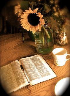 The essentials... hot tea, fresh flowers, God's Word.