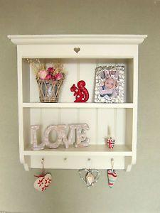 Shabby Chic Wooden Shelf Unit French Country Painted White Cream Laura Ashley   eBay