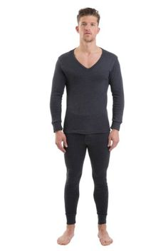 2COZEE Mens Thermal V Neck Long Sleeve Vest & Long Johns Charcoal M