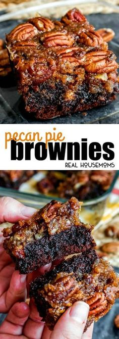These Pecan Pie Brownies are a chocolaty twist on the traditional pecan pie! The… These Pecan Pie Brownies are a chocolaty twist on the traditional pecan pie! They make a great Thanksgiving dessert but I like making them all year long! via Real Housemoms Pecan Recipes, Brownie Recipes, Sweet Recipes, Cooking Recipes, Pumpkin Recipes, Recipes With Pecans, Cooking Cake, Pie Recipes, Fun Desserts