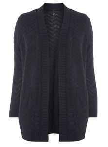 Navy Blue Zig Zag Fluffy Cardigan