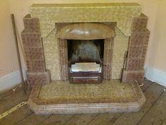 1940s art deco fireplace 1930s Fireplace, Art Deco Fireplace, Tiled Fireplace, Decorative Fireplace Screens, Art Deco Room, Art Deco Tiles, Colonial Art, 1930s House, Art Decor