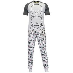 Men's Homer Simpson Pajamas. Simpsons Pjs featuring a short sleeved top and long legged bottoms. The Simpsons pajamas with a large print of Homer Simpson and all over donut and Homer print to the bottoms. Homer Simpson, The Simpsons, Mens Sleepwear, Man Character, Sleep Set, Mens Clothing Styles, Men's Clothing, Pjs, Lounge Wear