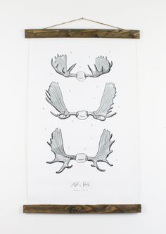 Moose Antler Study Vol. 1 - Designer Jessica Rose, creates each piece using a watercolor technique that gives a truly one of a kind vintage elegance.