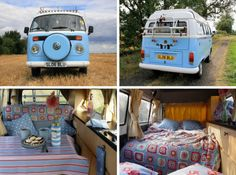 cute vw bus, inside and out - love the crochet throw