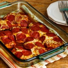 This Low-Carb and Gluten-Free Pepperoni Pizza Chicken Bake is a dish the whole family will enjoy!