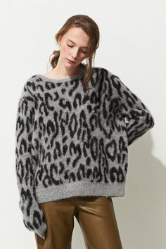 FRS Leopard Oversized Mohair Sweater - FrontRowShop