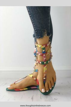 4c68a47366d884  42.49 Rivets Multi Strap Toe Post Flat Sandals. Looking for the perfect  pair of sandals