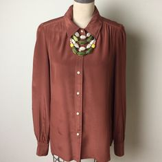 Gorgeous russet color J.Crew 100% silk blouse Beautiful color in a classic style!  100% silk J. Crew Tops Blouses