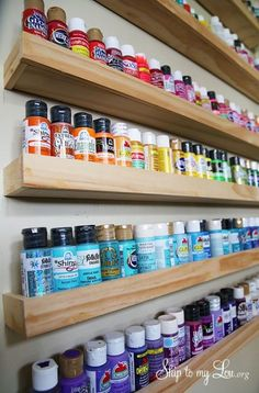 Trendy ideas for craft room storage diy house Craft Paint Storage, Diy Makeup Storage, Storage Ideas, Wall Storage, Cheap Storage, Storage Solutions, Wall Shelves, Storage For Art Supplies, Spray Paint Storage