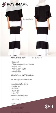 NWOT Go Couture black & white colorblock maxidress Stunning maxi dress has solid black relaxed blousey top with boat neck and elbow length dolman sleeves with white and black wide horizontal colorblock skirt (all attached). So comfortable and stylish. Perfect dress for a great statement necklace too!  Brand new (in packaging). Retailed at $148!  ❗Please read my recently updated 'about me and my closet' listing for pricing/policies. Go Couture Dresses Maxi