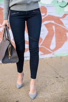 Wearing @agjeans Cashmere Vee in Heather Grey and Moto Legging in Rustle | Enter the AG Holiday Pinterest sweepstakes here: http://sweeps.piqora.com/AGHoliday14 | Sweepstakes starts at 5:00 am PST on November 17, 2014 and ends at 11:59 pm PST on December 5, 2014