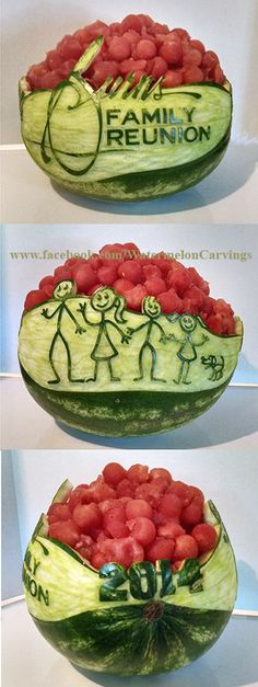 family reunion watermelon carving