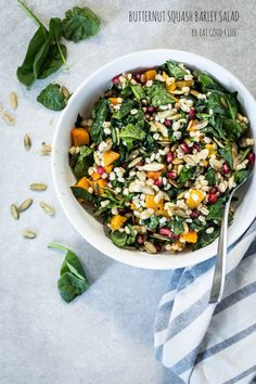 Butternut squash barley salad. Vegan and can be gluten free by using quinoa instead of barley. Perfect for the holidays ahead.