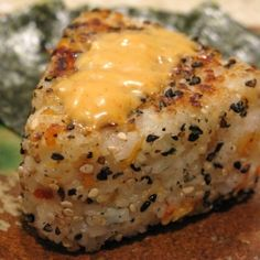 Grilled Salmon Onigiri (Japanese rice balls) with spicy mayonnaise sauce