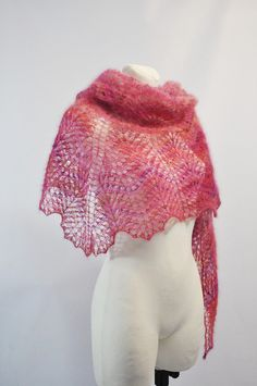Pink Shawl, Pink Knit Scarf, Pink Lace Scarf, Hand Knit Shawl in Pink, Kid Mohair Silk Blend