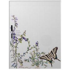 #vintage - #Butterfly Milkwort Flowers Dry Erase Board