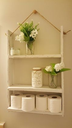 This is why I love pinterest! I needed some storage in bathroom ... found the idea and made my own version ! #bathroomstorage #rustic #easyaspie #farmhouse #shelves