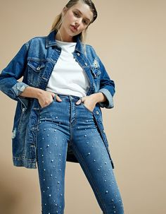At Stradivarius you'll find 1 Super high waist jeans with faux pearls for just 29.99 United Kingdom . Visit now to discover this and more Jeans.