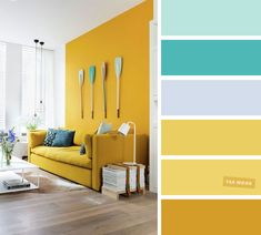 Mint + Turquoise + Mustard – The Best Living Room Color Schemes - Fabmood Yellow Walls Living Room, Good Living Room Colors, Living Room Turquoise, Living Room Color Schemes, Living Room Paint, Living Room Interior, Living Room Designs, Living Room Decor, Retro Living Rooms