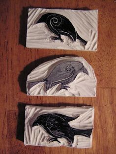 Crows: Lino Stamps