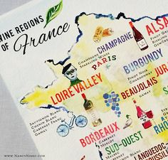 Illustrated Map of FranceFrench Wine French by nancynikkodesign