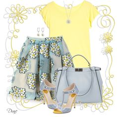 Light Blue Yellow Silver Outfit.