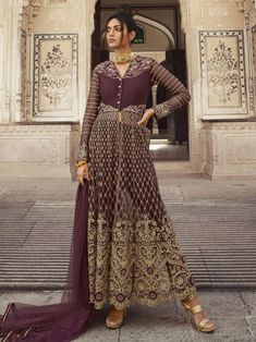 Cozy Wine Net Partywear High Slit Style Suit Indian Dresses For Girls, Girls Dresses, Gown Suit, Ethnic Sarees, Costume, Silk Pants, Latest Outfits, Salwar Kameez, Sharara Suit