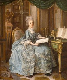 "Lié-Louis Périn-Salbreux (1753–1817)  Portrait of Madame Sophie (1734-1782)  Previously thought to be a portrait of Marie-Antoinette (""La Petite Reine""), the painting's subject has been identified as Madame Sophie, because of her library's distinctive parquet floor."