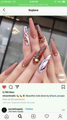 Nail Shapes - My Cool Nail Designs Cute Acrylic Nails, Acrylic Nail Designs, Nail Art Designs, Nails Design, Nail Designs Bling, Bling Nails, Swag Nails, Gorgeous Nails, Pretty Nails