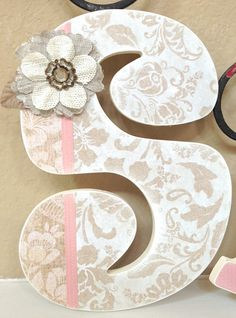 Nursery Wall Letters, Wooden Hanging Letters, Shabby Chic Girl Nursery Decor, Baby Shower Gift
