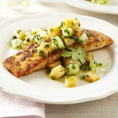 Ginger Crusted Salmon with Melon Salsa Recipe - Good Housekeeping